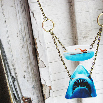 Swimming Girl and Shark Necklace Jaws Great White Attack Geekery Jewelry Free Shipping