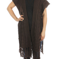 Brown Knitted Side Button Poncho