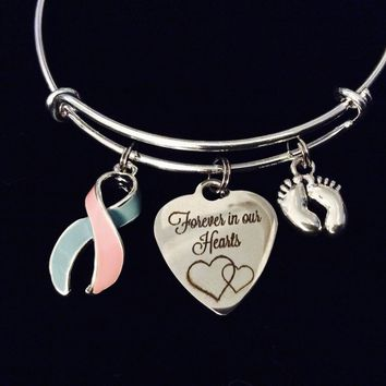 Pregnancy and Infant Loss Awareness Ribbon Expandable Charm Bracelet Adjustable Bracelet Bangle Memorial Gift Pink and Blue Ribbon