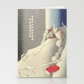 In the snow at Tsukahara on Sado Island  Stationery Cards by anipani