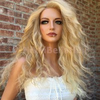 Malibu Sunkissed Blonde Beach Waves Bayalage Front Lace Wig 18""
