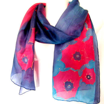Silk Scarf Hand Painted Navy Blue Vermillion Red Turquoise