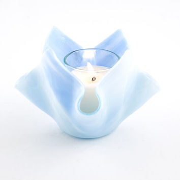 Fused Glass Votive Candle Holder, Baby Blue, Modern Design, Tea Light Holder, Small Bud Vase, Catch All Bowl, Pastel Home Decor, Cool Gifts
