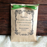 Personalized 20 rustic wedding favor bag, brown kraft paper bag with satin ribbon, wedding gift bags