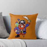 'Cartoon Pirate with Peg Leg & Parrot' Throw Pillow by Gravityx9