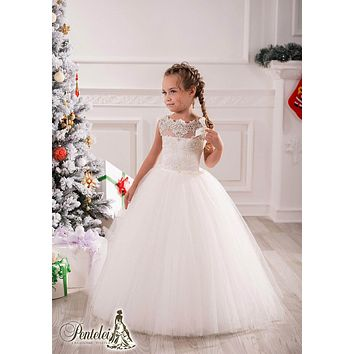 2017 Little White Lace Ball Gown Flower Girl Dresses Baby Kids Birthday Party Christmas Gowns Princess Flower Girl Dresses