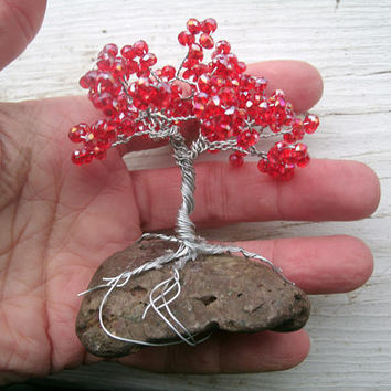 "Minature beaded tree, fairy garden tree, 3"" tall, minature decor, red crystal, silver wire, mounted on rock, OOAK handmade gift, nature love"