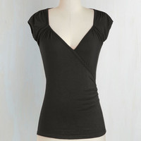 Minimal Short Length Cap Sleeves Seemingly Sew Top in Ink