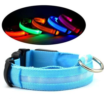 Nylon LED Pet Dog Collar Night Safety Flashing Glow In The Dark Dog Leash Dogs Luminous Fluorescent Collars Pet Supplies