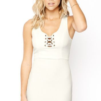 Leave Your Mark Lace Up Sheath Dress