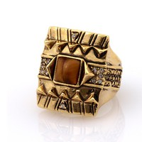 House of Harlow 1960 Jewelry Cushion Cocktail Ring with Tiger's Eye