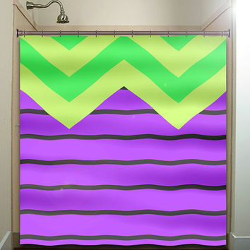 chartreuse violet green purple big chevron shower curtain bathroom decor fabric kids bath white black custom duvet cover rug mat window