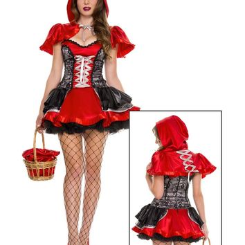 Adult Women's Sexy Little Red Riding Hood Lace Up Halloween Costume Small/Medium