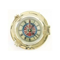 Porthole clock, 5.5 inches, compass rose - Nautical Decor, Fashion & Gifts - Shop - Porthole clock, 5.5 inches, compass rose compass rose clock face porthole clocks precious make a gift