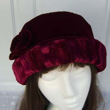 Burgundy VELVET Hat with velvet rose, Women's Velvet Hat, Velvet Hat, Burgundy Velvet Hat
