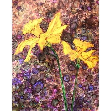 """Daffodils"" Alcohol ink Painting"