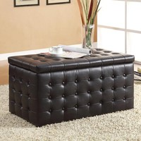 HomeHills 224720PU Dark Brown Storage Bench with Two Ottomans