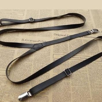 Kids, Boy Black Synthetic Leather Suspender, Wedding, Gift, Prom, Groomsmen , Boyfriend Gift,Vintage,Party,Gift Dad