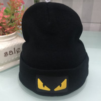 Fendi Autumn and winter new fashion knit letter hat embroidery cap Black