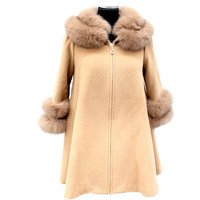 Coat with Fox Fur Collar and Fur Trim Sleeves - Camel