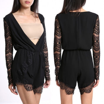 Sexy Fashion Lady Lace Club Jumpsuits Women's Cocktail Party Clubwear Playsuit