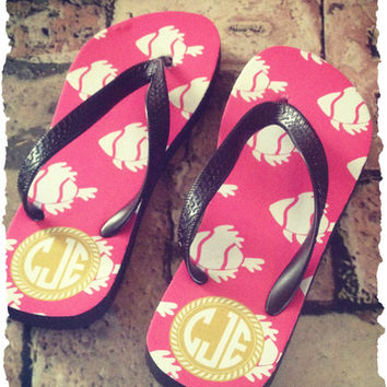 Personalized Flip Flops, Monogram Sandals from Sassy Southern Gals Boutique