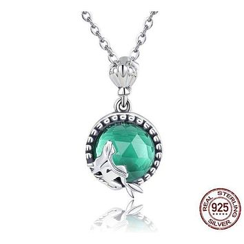 925 Sterling Silver Love of Mermaid Pendant Necklace