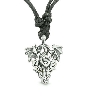 Amulet Celtic Protection Knots Courage Flying Dragon Pewter Pendant Necklace