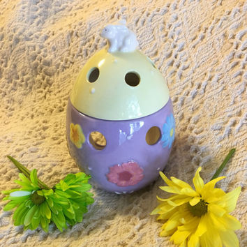 Easter Egg Candle Holder Ceramic Purple and Yellow Egg With Bunny on Top Lantern Tealight Votive Potpourri Warmer Vintage Spring Home Decor