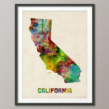 California Watercolor Map USA, Art Print 18x24 inch (345)