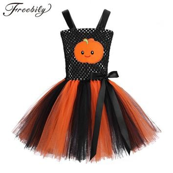 Cool Little Girl Adjustable Straps Pumpkin Pattern Bow Knot Mesh Girls Tutu Dress Hot Halloween Costume for Kids Cosplay Party DressAT_93_12