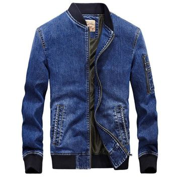 Trendy Men jeans jacket brand new fashion bomber denim jackets mens casual cowboy embroidered 4XL coat streetwear male clothes chaqueta AT_94_13