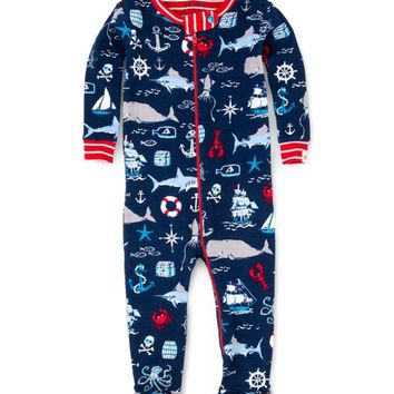 Navy & Red Nautical Organic Cotton Footie - Infant