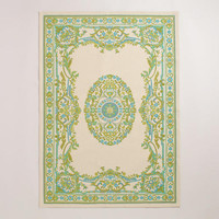 4'x6' Green Victorian Dhurrie Rug