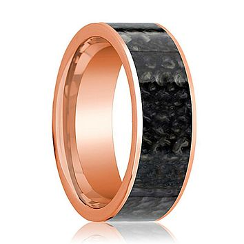 BARYONYX Men's 14k Rose Gold & Blue Dino Bone Ring Flat Polished Design - 8MM