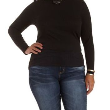 Mock Neck Long Sleeve Top by Charlotte Russe