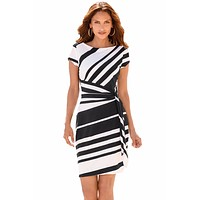 Women Autumn Dresses Pencil  Stripe Knot Sheath Party Casual  Dress
