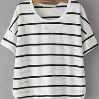 White Striped Round Neckline Loose Fitting Shirt