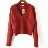 V Neck Pure Color Pockets Knit Sweater