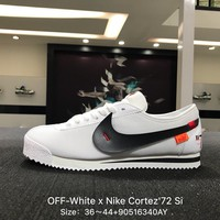 OFF-White x Nike Cortez'72 Si White Black Men Sports Running Shoes Sneaker - 881205-101