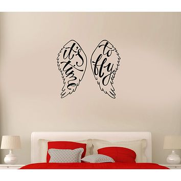 Wall Decal Wings Angel Flight Time to Fly Phrase Vinyl Sticker (ed1015)