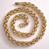 Monet Wheat Weaved Necklace Vintage Link Chain Weighs 175.4 Grams Open Braided Large Strand Horseshoe Clasp