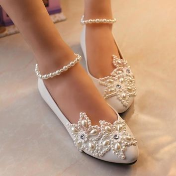 Flat Sweet Pearl Ankle Chain Pearl Flower White Princess Birdal Wedding Party Shoes =