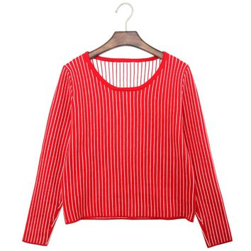 Stylish Scoop Collar Long Sleeve Striped Knitted Women's Sweater