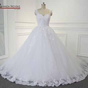Amanda Novias Charming Lace Puffy Wedding Dress 2017 Sweetheart Neckline