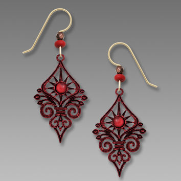 Adajio Earrings - Dark Red Deco Sunburst with Swirls