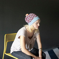 Geometric Cubes - Wool Knit Beanie - Light Blue, Oxblood, Peach Pom Pom