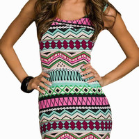 Green Tribal Print Sleeveless Cut-Out Back Bodycon Mini Dress