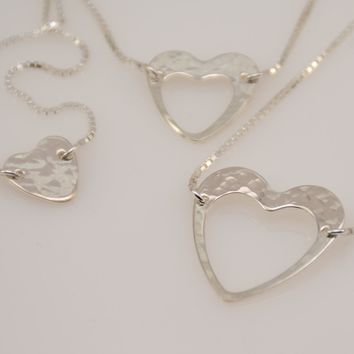 Generations Bracelet Set - Hammered Heart Charm Bracelet Set