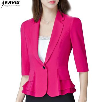 Summer Elegant women half sleeve blazer fashion formal fashion hem ruched plus size jacket plus size work wear uniform